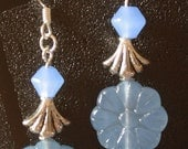 Blue Milk Glass and Silver Beaded Earrings