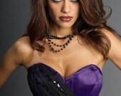 "Stunning Embroidered Black and Purple Satin Corset 22"" Waist Size 22"""