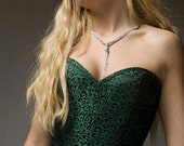 """Emerald Green and Black Taffeta Brocade Overbust Corset 24"""" Waist Size 24"""""""
