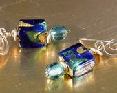 Earrings - Blue Murano Glass, Czech Beads & Swarovski crystals