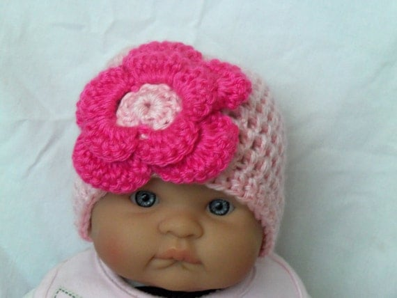 READY to Ship, Crocheted Hat with Pink Flower For Preemie Baby Great Photo Prop or Gift