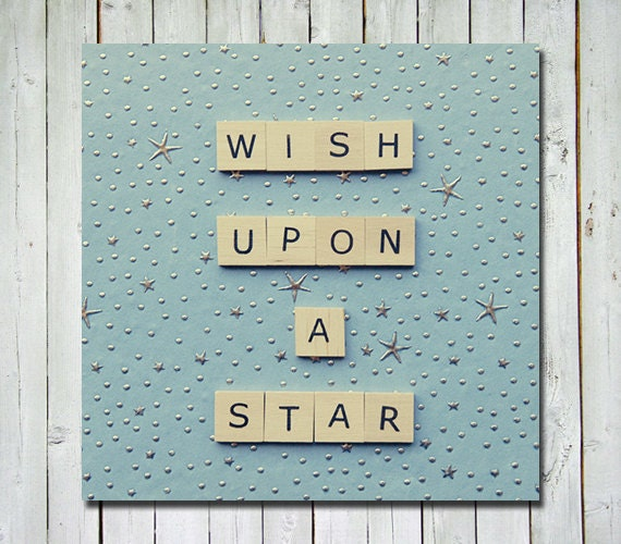 Nursery quote print - wall art nursery art - nursery nautical decor - blue - stars - wish upon a star - 5x5 fine art photograph