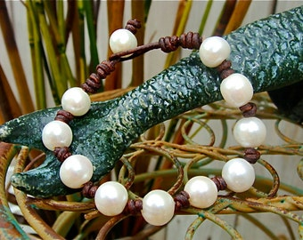 The Leather and Ten Pearl Bracelet