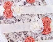 WHOLESALE 4 SASH with satin rosette lace Flower girl / bridal / bridesmaid sash Belt in Ivory ribbon choose colors