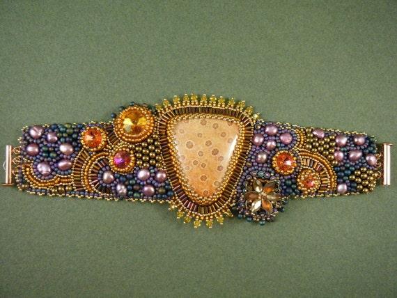 RESERVED For BS Summer Garden Bead Embroidery Bracelet