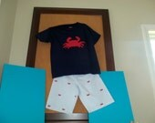 Seersucker shorts with crabs and matching applique crab shirt