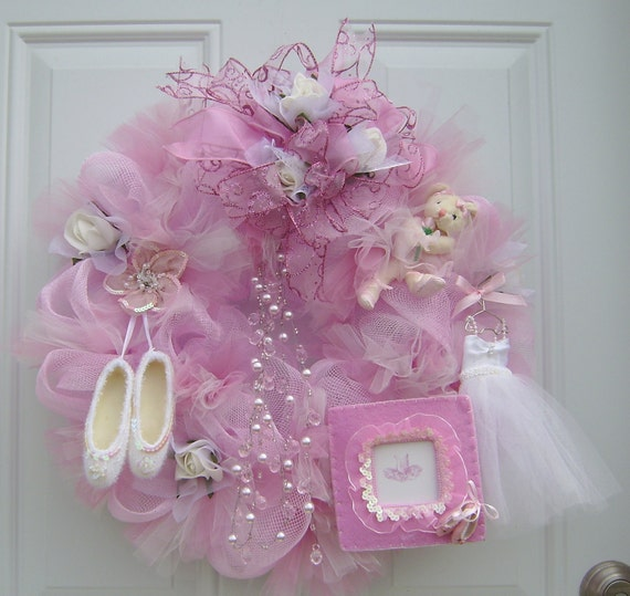 Deco Mesh Wreath Personalize Pink Tulle and Dance Decor