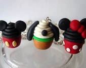 Disney Cupcake Pendent Necklace (Minnie mouse, Mickey mouse) Choose One