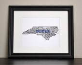 DUKE BLUE DEVILS North Carolina Collage State Print (Customize or Choose Your Own State)