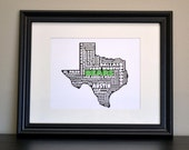 TEXAS BEARS Texas Collage State Print (Customize or Choose Your Own State)