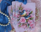 Vintage French Blue Birds and Pink Roses Gift Cards Hang Tags