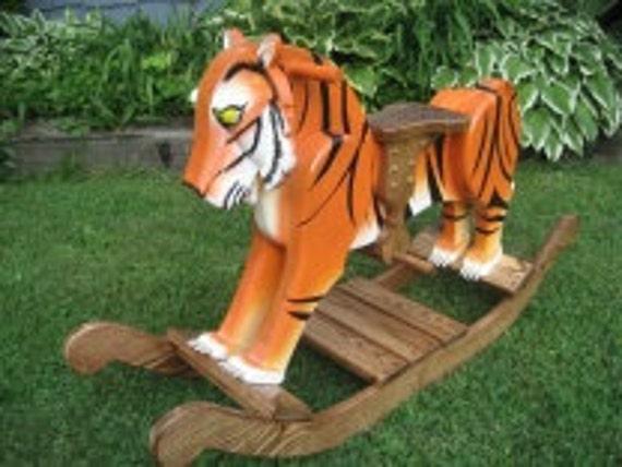 Travis, The Wooden Rocking Tiger