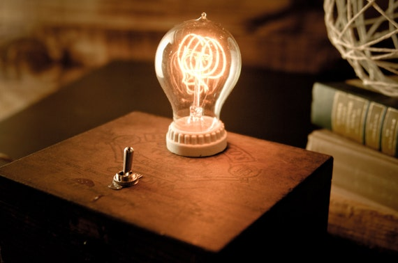 Custom Vintage Cigar Box Lamp With Toggle Switch And