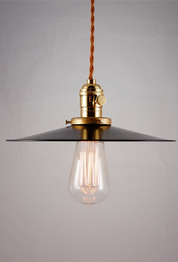 Rustic Black Enameled Pendant Lamp Light Fixture With Cloth