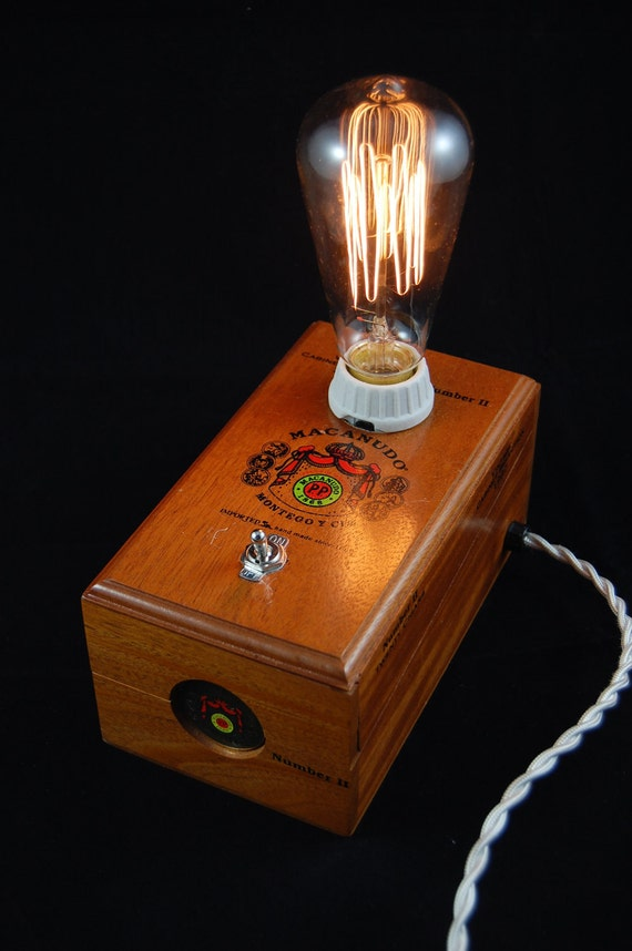 Vintage Cigar Box Lamp With Toggle Switch And By