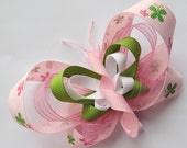 Fly Away Butterfly - Beautiful X-Large Pastel Pink & Lime Green Butterfly Hair Clip with Headband - Cute For 1st or 2nd Birthday or Gift