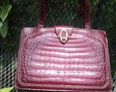 Vintage Red Faux Alligator Bag