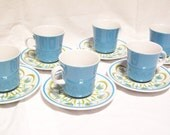 Mikasa Cera-Stone - Crest D 1502 / D1500  - Made in Japan - Six Coffee Cups and Saucers - Sold Individually