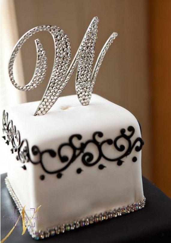 "Swarovski Monogram Cake Topper ""W"""