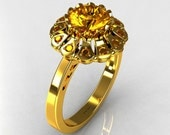 Modern 22K Yellow Gold 1.0 ct Round and ct 0.24 CTW Yellow Sapphire Flower Ring JK17-22YGYS