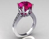 French Bridal 950 Platinum 3.5 Carat Pink Sapphire Pave Diamond Solitaire Wedding Ring R301-PLATDPS