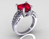Modern Vintage 10K White Gold 3.0 Carat Heart Red Ruby Diamond Solitaire Ring R134-10KWGDRR