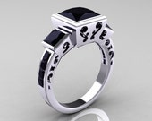 Classic Bridal 10K White Gold 2.5 Carat Square Three Stone Princess Black Diamond Ring R315-10WGBD