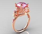Modern Vintage 18K Rose Gold 2.5 Carat Light Pink Sapphire Wedding, Engagement Ring R167-18KRGLPS