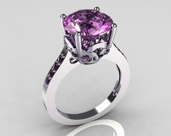 Classic 14K White Gold 3.5 Carat Lilac Amethyst Solitaire Wedding Ring R301-14KWGLA