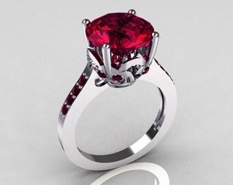 14K White Gold 3.5 Carat Rhodolite Raspberry Red Garnet Solitaire Wedding Ring R301-14KWGRG