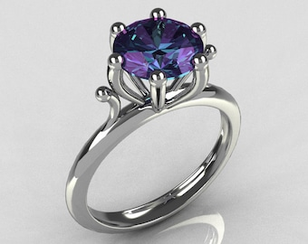 Modern 14K White Gold 1.75 Carat Round Alexandrite Solitaire Ring R33-14WGAL