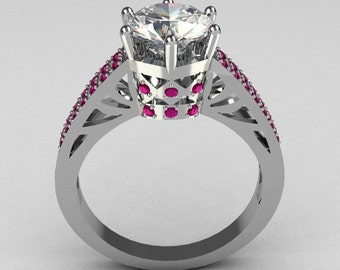 Hurro Armenian Antique 18K White Gold 1.25 Carat Round CZ Pave Pink Sapphire Solitaire Ring Y233-18KWGCZPS