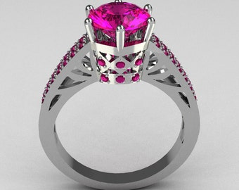 Hurro Armenian Antique 18K White Gold 1.25 Carat Round and Pave Pink Sapphire Solitaire Ring Y233-18KWGPS