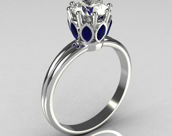 Modern Antique 950 Platinum Marquise Blue Sapphire 1.0 CT Round Zirconia Solitaire Ring R90-PLATCZBS