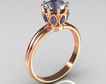 Modern Antique 18K Pink Gold 0.40 CT Marquise and 1.0 CT Round Blue Topaz Solitaire Ring R90-18KPGBT
