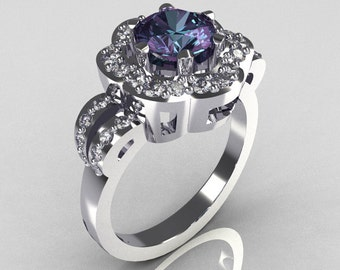 Classic 14K White Gold 1.0 Carat Alexandrite Diamond Engagement Ring R108-14KWGDAL