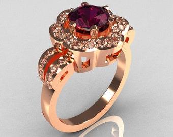 Classic 18K Pink Gold 1.0 Carat Amethyst Diamond 2011 Trend Engagement Ring R108-18KPGDAM