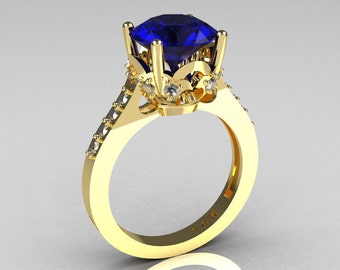 French Bridal 14K Yellow Gold 3.0 Carat Blue and White Sapphire Solitaire Wedding Ring R301-14YGDWBSS