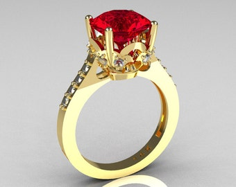 French Bridal 14K Yellow Gold 3.0 Carat Red Ruby White Sapphire Solitaire Wedding Ring R301-14YGDWSRR