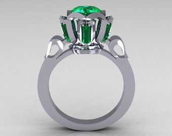 Modern Edwardian 18K White Gold 1.0 Carat Emerald Baguette Cluster Wedding Ring R305-18WGEM