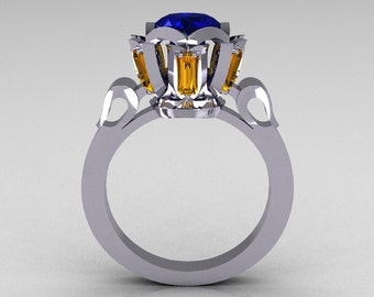 Modern Edwardian 10K White Gold 1.0 Carat Blue Yellow Sapphire Baguette Cocktail Wedding Ring R305-10WGBYS