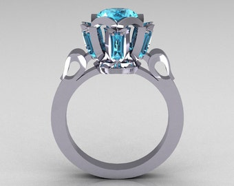 Modern Edwardian 14K White Gold 1.0 Carat Aquamarine Baguette Cluster Wedding Ring R305-14WGAQ
