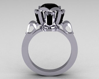 Modern Edwardian 10K White Gold 1.0 Carat Black Diamond Baguette Cluster Wedding Ring R305-10WGBD