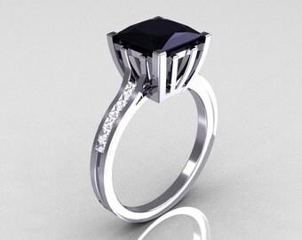 Modern Italian 14K White Gold 2.0 Carat Princess Black Diamond Channel White Diamond Solitaire Ring R312-14KWGBDD