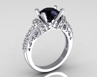 Modern Armenian Classic 14K White Gold 1.5 Carat Black and White Diamond Solitaire Wedding Ring R137-14WGDBL