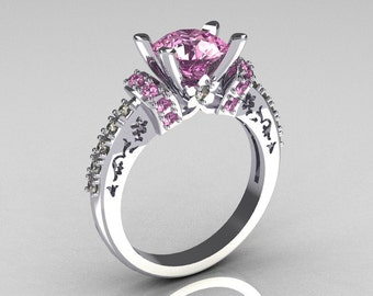 Modern Armenian Classic 14K White Gold 1.5 Carat Light Pink Sapphire Diamond Solitaire Wedding Ring R137-14WGDLPS
