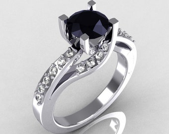 Modern Bridal 14K White Gold 1.0 Carat Black Diamond Solitaire Ring R145-14KWGDBD