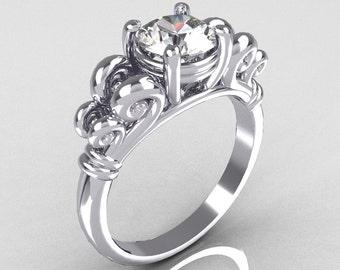 Modern Antique 10K White Gold 1.0 Carat Round White Sapphire Designer Solitaire Ring R141-10WGWS