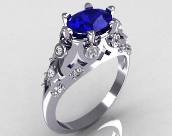 Modern Edwardian 18K White Gold 1.0 Carat Oval Blue Sapphire Bridal Ring R147-18WGDBS