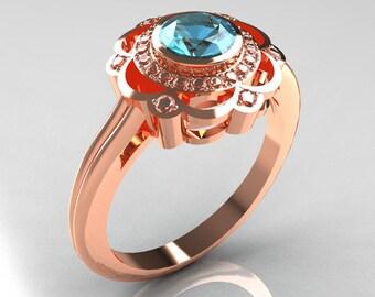 Classic 14K Rose Gold Diamond Aquamarine Bridal Ring R70-14KRGDAQ
